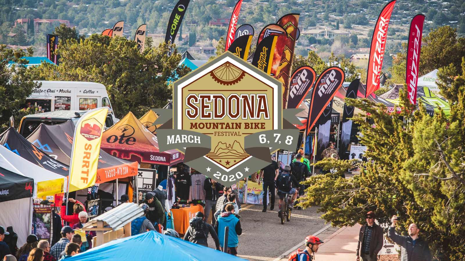 Sedona Mountain Bike Festival logo over image of vendor tents and flags
