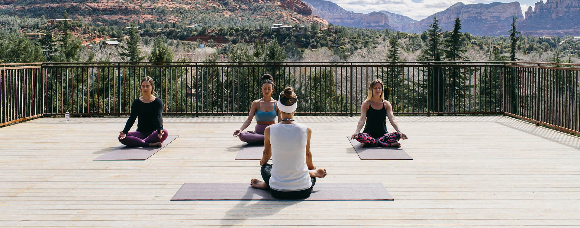 a Private Yoga exercise on the SpiritSong terrace